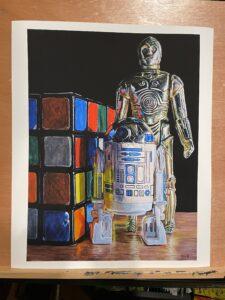 """""""Vintage Droid Figures with Rubik's Revenge"""" 16""""x12"""" - Print 16"""" x 12"""" - Archival Hot Press Paper"""