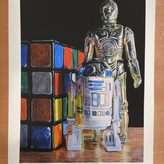 """Vintage Droid Figures with Rubik's Revenge"" 16""x12"" - Print 16"" x 12"" - Archival Hot Press Paper"