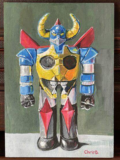 """Gaiking - Sofubi - 7""""x5"""" acrylic gouache on wood panel"""