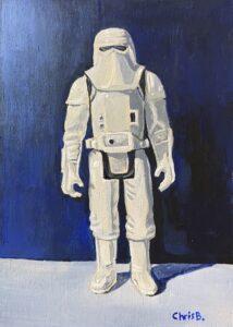 "Snowtrooper - 7""x5"" acrylic gouache on wood panel - original"